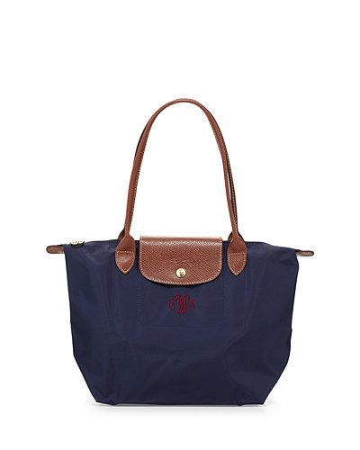 Le Pliage Medium Monogram Shoulder Tote Bag, New Navy