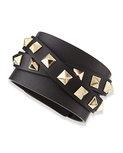 Multi-Wrap Rockstud Leather Bracelet