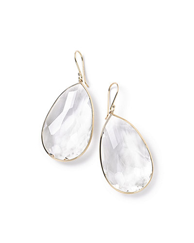 18k Rock Candy Large Teardrop Earrings in Clear Quartz