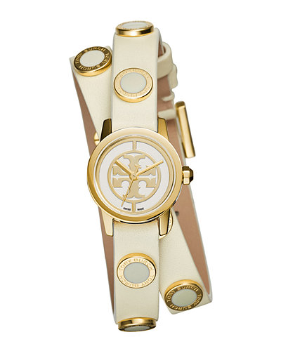 Tory Burch Watches Reva Mini Double-Wrap Leather Watch