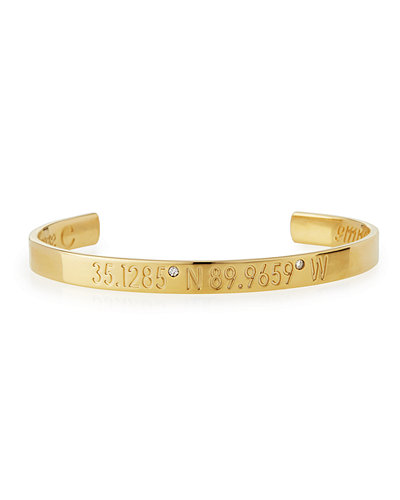 Legend Engraved Diamond Bangle Bracelet