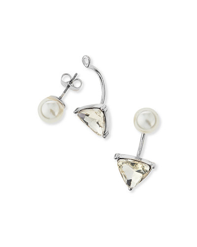 A.V. Max Triangle Crystal & Pearly Jacket Earrings
