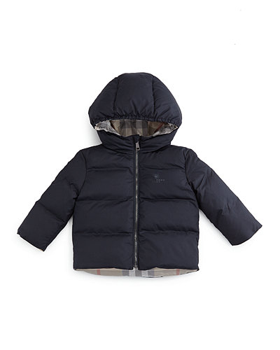 Burberry Rio Hooded Reversible Down Jacket, Size 6M-3Y