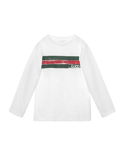 Gucci Long-Sleeve Logo-Graphic Jersey Tee, Size 4-12
