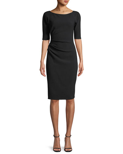 Deedie 3/4-Sleeve Side Ruched Dress