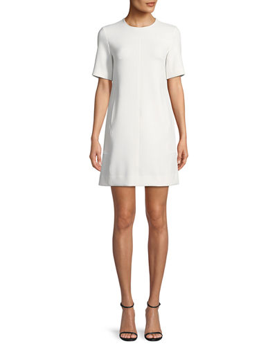 Lela Rose Short-Sleeve Seamed Tunic Dress