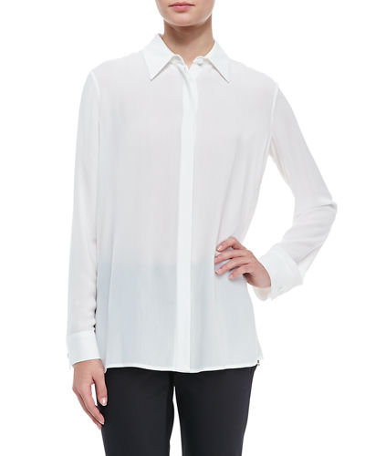 Long-Sleeve Collared Blouse