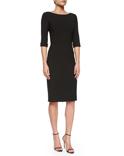 Carolina Herrera Princess-Seamed Rolled-Cuff Sheath Dress
