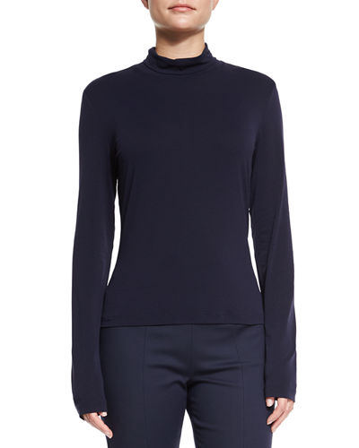 Mock-Neck Fine Jersey Top