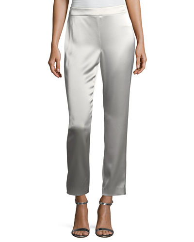 Emma Liquid Satin Cropped Pants, Platinum