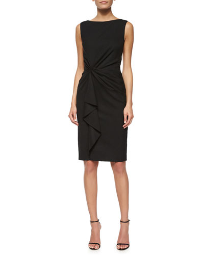 Sleeveless Ruffle-Front Sheath Dress