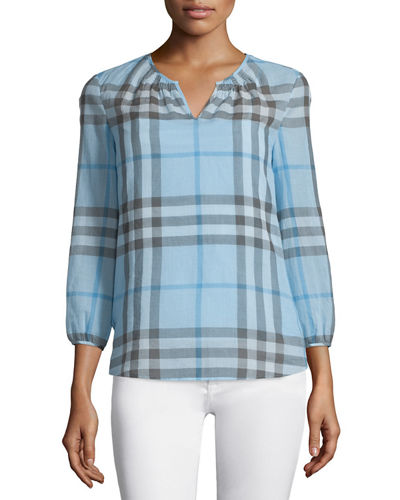 Burberry Brit 3/4-Sleeve Check Peasant Blouse