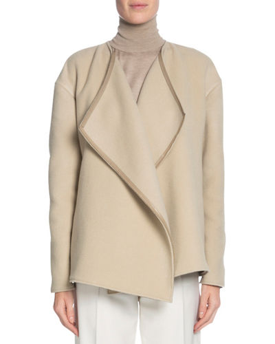 TOM FORD Leather-Trim Cashmere Wrap Jacket