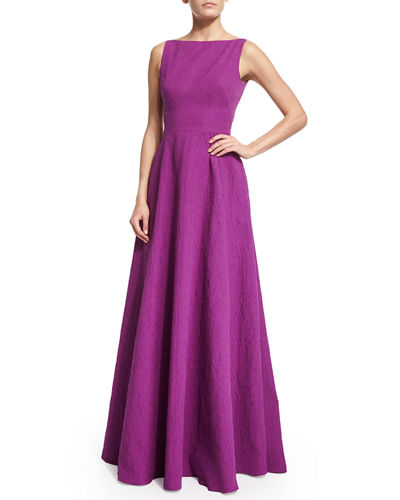 Lela Rose Sleeveless V-Back Gown