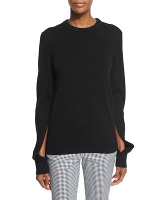 Slit-Sleeve Crewneck Cashmere Sweater, Black