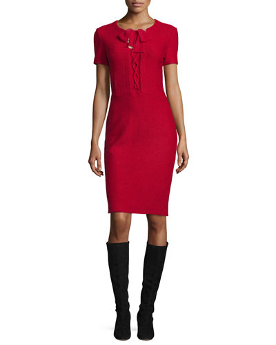 Newport Knit Tie-Neck Short-Sleeve Dress