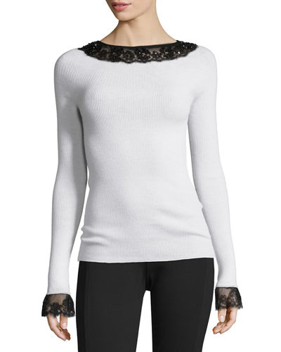 Lace-Trim Boat-Neck Wool Top