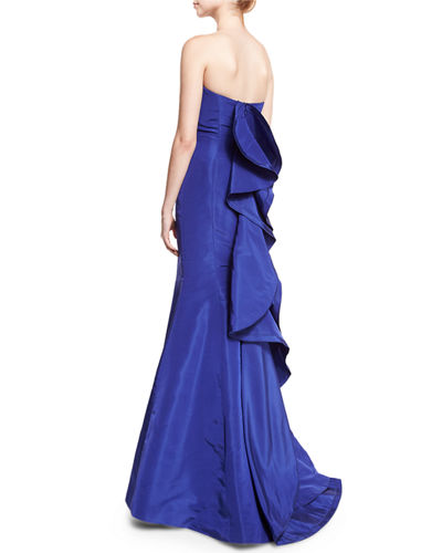 Strapless Ruffle-Back Silk Faille Gown