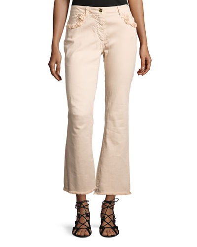 Fringe-Trim Flared Ankle Jeans