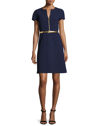 Belted A-Line Zip-Front Dress