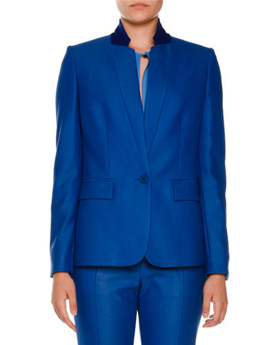 Fleur Stand-Collar One-Button Jacket