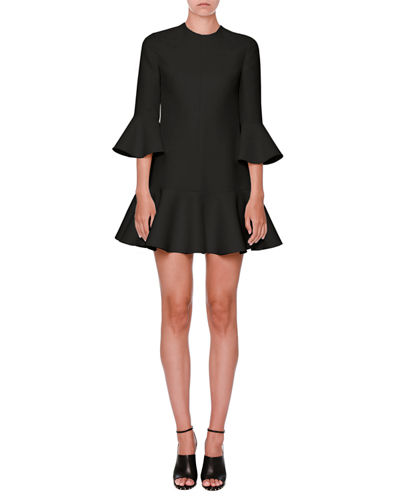 Flared-Trim 3/4-Sleeve Dress