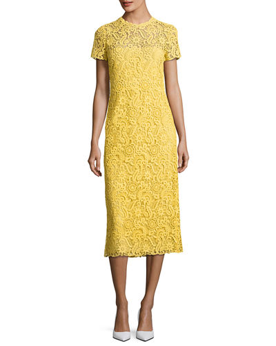 Short-Sleeve Lace Midi Dress