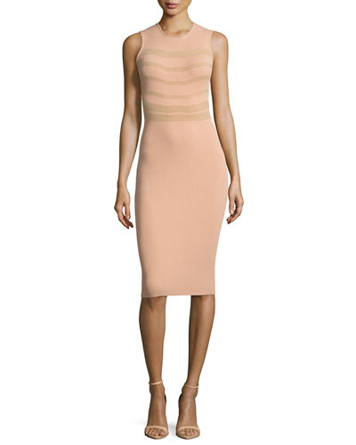 Sleeveless Round-Neck Ribbed Dress
