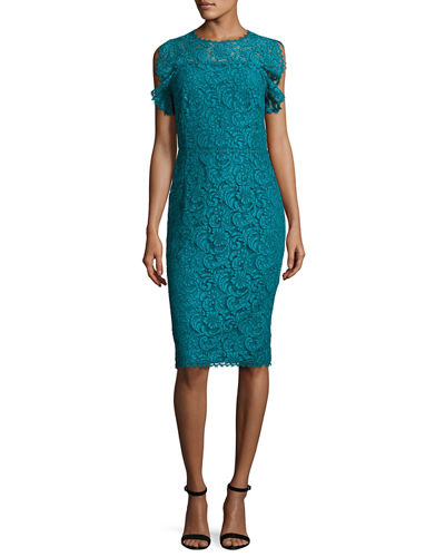 Ruffled-Sleeve Lace Dress