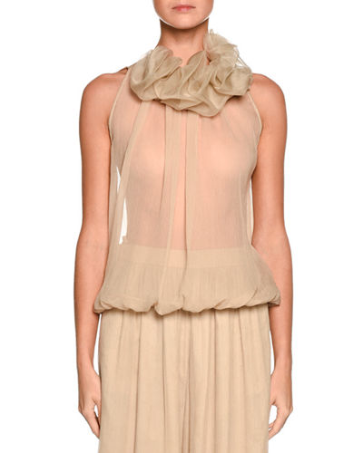Ruffled-Collar Sleeveless Blouse