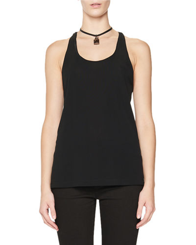 TOM FORD Scoop-Neck Tank w/Leather Padlock