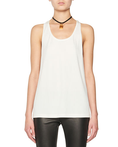 Scoop-Neck Tank w/Leather Padlock