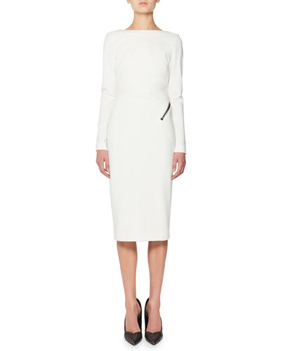 Zip-Trim Scoop-Back Long-Sleeve Dress