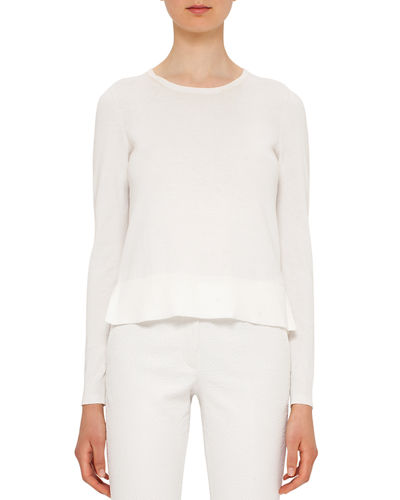 Akris punto Ruffled-Hem Cotton Sweater