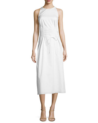 Lao Sateen Tie-Waist Midi Dress