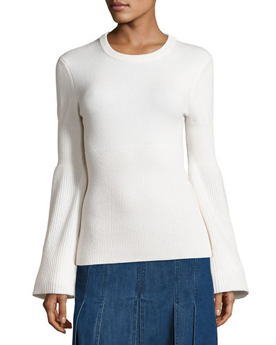 Cashmere Bell-Sleeve Ribbed Sweater