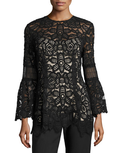 Long-Sleeve Corded Lace Top
