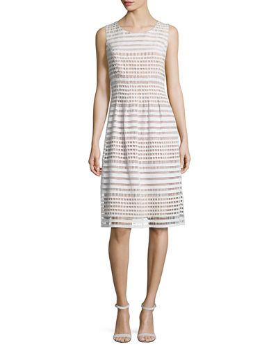 Windowpane-Lace Sleeveless Dress