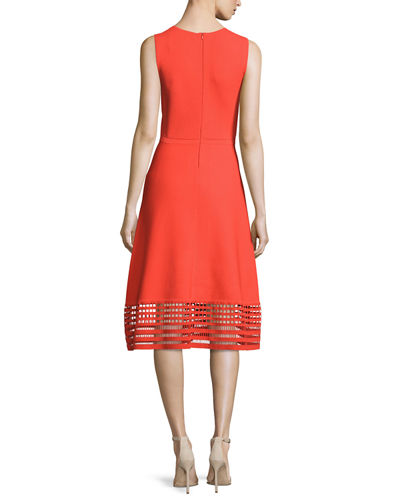 Sleeveless Dress with Windowpane Lace Hem