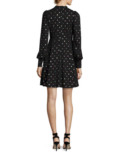 Glittered Polka-Dot Tie-Neck Cocktail Dress