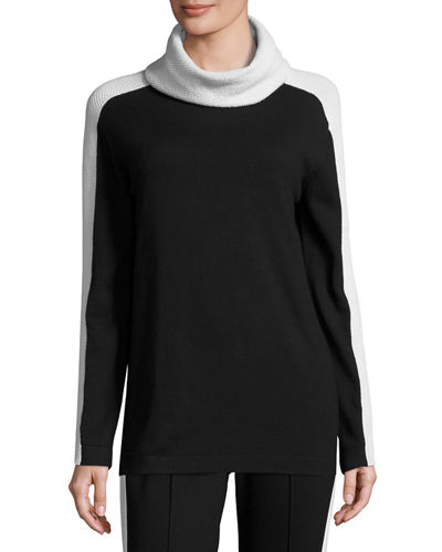 Escada Mesh-Stripe Cowl-Neck Sweater