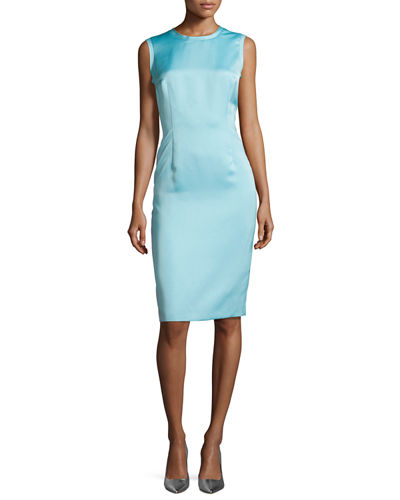 Sleeveless Raw-Edge Sheath Dress