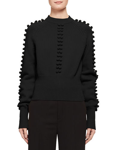 Chloe Bauble-Detail Mock-Neck Sweater