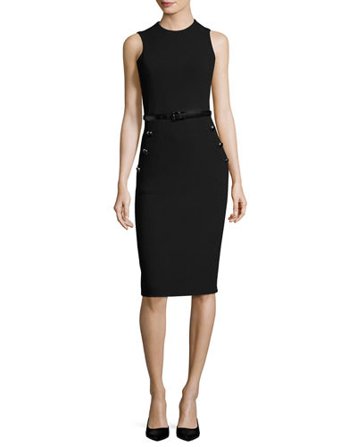 Boucle Belted Sleeveless Sheath Dress