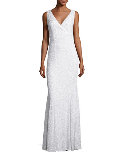 Xandra Hand-Embellished V-Neck Gown