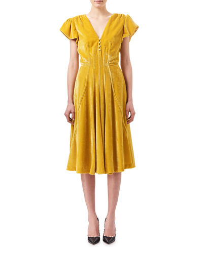 Camilla Cap-Sleeve Velvet Midi Dress, Yellow