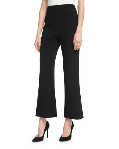 Wool High-Waist Cropped Straight-Leg Pants