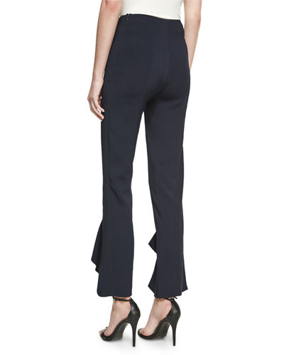 Julianne Tailored Skinny Ruffle-Hem Pants