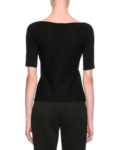 Waffle-Stitch Scoop-Neck Top