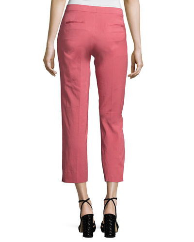 Faille Cropped Straight-Leg Pants
